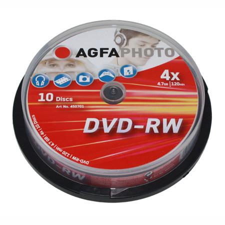 DVD-RW AGFA 4.7 GB 4x Speed Cakebox 10 TEM