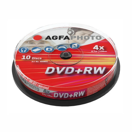 DVD+RW AGFA 4.7 GB 4x Speed Cakebox  10 TEM