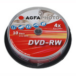 DVD-RW AGFA 4.7 GB 4x Speed Cakebox 10 TEM