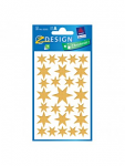 STICKERS AVERY CHRISMTAS STARS GOLD TRANS