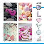 """Τετράδια Global Μονο Σπιράλ """"Love"""" 17x25 4 θεμάτων"""